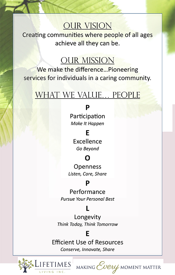 Our Vision, Mission and Values poster